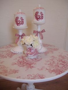Shabby Chic Red Toile De Jouy Table