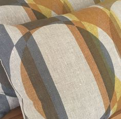 #retro modern #vintage Oblong cushion hand screen printed limited edition in four colours on natural linen with 'Splice' design. 61x41cm