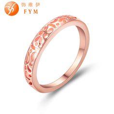 Corona anillo de compromiso de la boda de imitación chapado en oro rosa anillo para para mujeres de titanio de antigüedades de época la joyería