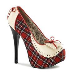 Bordello TEEZE-26 Red Plaid Platform Pumps - Bordello Shoes - SinisterSoles.com