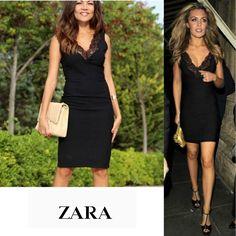 720fcabc ZARA BLACK V NECK BODYCON PENCIL WIGGLE DRESS WITH LACE DETAIL NEW #ZARA  #WigglePencil