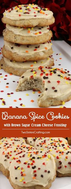 Harvest Banana Spice Cookies with Brown Sugar Cream Cheese Frosting