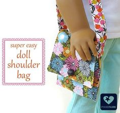 Free tutorial with Josephine Kimberling fabric -- shoulder bag for 18 inch doll. Fast, fun craft on Pixie Faire