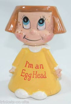Vintage Kreiss I'm An Egg Head  Girl Egg Cup