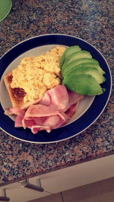 Breaky time!!!! Scrambled eggs, avo & bacon