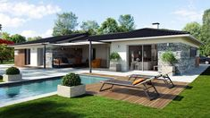 Find all types of houses for sale in France on Build Your House Bungalows, Build Your House, Bungalow Exterior, House Front Design, Facade House, Cabin Homes, Types Of Houses, Home Staging, Backyard Patio