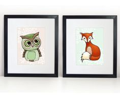 Owl and Fox  Art Prints 2 8x10s  Little Red Fox & by PebblesPrints, $30.00