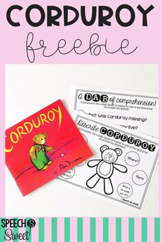 Corduroy is one of my favorite books for speech-language therapy! This freebie features fun pages for describing and comprehension! Preschool Speech Therapy, Speech Therapy Activities, Speech Language Pathology, Language Activities, Speech And Language, Book Activities, Articulation Activities, Preschool Songs, Preschool Curriculum