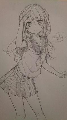 Anime girl drawing #anime art...  http://xn--80aapluetq5f.xn--p1acf/2017/01/08/anime-girl-drawing-anime-art/