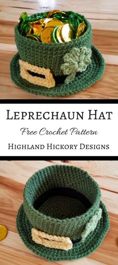 Crochet this Leprechaun hat that is shaped like a bowl! It's large enough to fit a candle inside or holiday treats! This is an easy and free St. Patrick's Day crochet pattern. Cute table topper or teacher gift. Holiday Crochet, Crochet Gifts, Crochet Toys, Knit Crochet, Crochet Beanie, Crochet Teacher Gifts, Crochet Baskets, Crotchet, Free Form Crochet