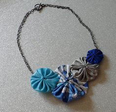 winter garden -  silk and cotton yo-yo bib statement necklace