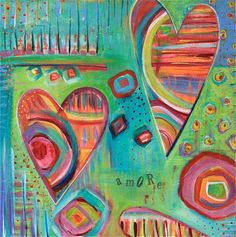 Contemporary Abstract HEARTS giclee print AMORE by LauraGaffke