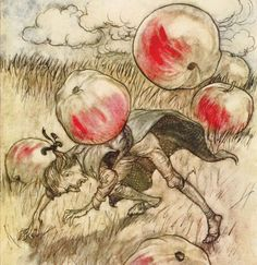 """Apples came tumbling about my ears"" Illustration from Gulliver's Travels by Arthur Rackham"