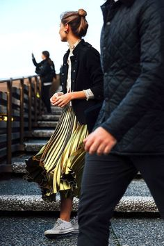 Photo via: Vogue This season pleats were abundant; on dresses, skirts and even sleeves. Once known as frumpy, the trend has been reimagined in golden leathers, metallics and foil-printed-silk. This st