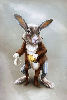 The March hare by morawless Alice Rabbit, Rabbit Art, March Hare, Bunny Art, Pet Costumes, Lewis Carroll, Animal Heads, Cute Illustration, Illustrations
