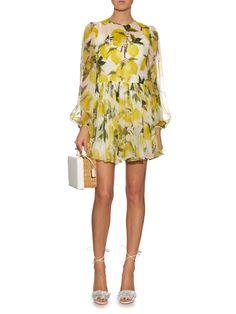 Lemon-print silk-chiffon mini dress | Dolce & Gabbana | MATCHESFASHION.COM US