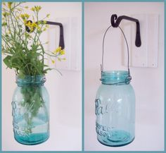 another mason jar hanging vase with wall mount, would be an easy diy project.