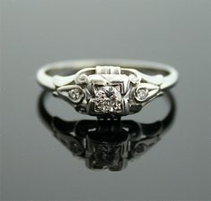 1930s Engagement Ring - White Gold and Diamond Antique Ring.   via Etsy. gorgeous