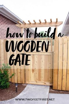 A stunning gate with a gate latch can complete any fence. This wooden gate design can really add that wow factor to your home. With these DIY plans, you can save a ton of money while improving the look of your backyard. #twofeetfirst