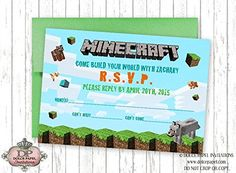 X Printable Video Game Birthday Invitation Gaming Birthday - Minecraft birthday invitation maker