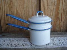 Double Boiler 3pc Enamelware Vintage Graniteware White Blue Kitchenware Baking | eBay