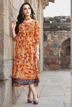 3d5f939f3e Readymade Orange Cotton Designer Printed Kurti #kurti #ladiestops  #cottonkurti #kurtionline #longkurti. Nikvik