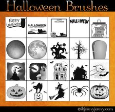 free witches pumpkins haunted houses spiders brushes for photoshop