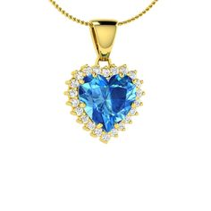 Heart cut Blue Topaz and Diamond Necklace Pendant in 18K Yellow Gold | eBay