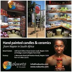 Nobunto - hand painted candles & ceramics from Napier in South Africa South Africa, Boards, Hand Painted, Decorations, Candles, Ceramics, Travel, Planks, Viajes