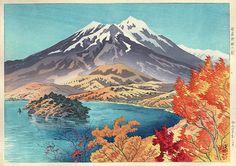 版画ギャラリー。 。 。 鳥居ギャラリー:伊藤Shinsuiによる野尻湖のAutumn