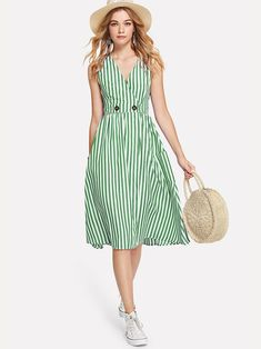 SHEIN offers Dual Pocket Striped Dress & more to fit your fashionable needs. Striped Dress Outfit, Blue Dress Outfits, Stripe Dress, Blue Dresses, Simple Dresses, Casual Dresses For Women, Summer Dresses, Dressy Dresses, Outfit Summer