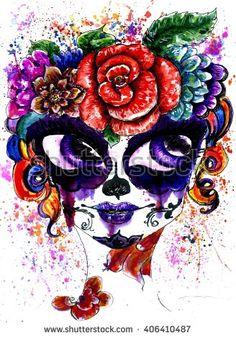 Girl with sugar skull makeup in flower crown, watercolor painting.