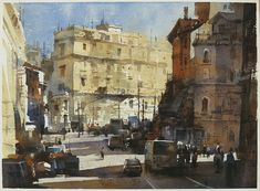 【羅馬街景,The streetscape of Rome 】27*36CM, Watercolour............By Chien Chung Wei, 簡忠威老師水彩課堂示範,ARCHES
