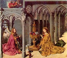 Behold Thy Mother! Barthélemy d'Eyck (1420-1470), painel central da Aix Annunciation, c. 1443–1445.