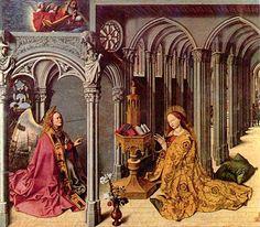 Barthélemy d'Eyck (1420-1470), painel central da Aix Annunciation, c. 1443–1445.