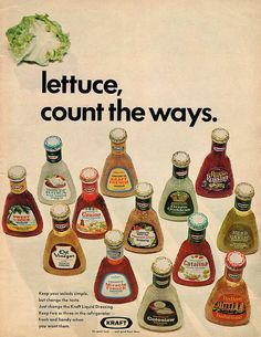 Vintage Advertising - lettuce count the ways.....   Kraft    Source: Chatelaine, July 1970
