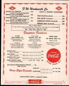 Woolworth's menu.  Notice no burgers!