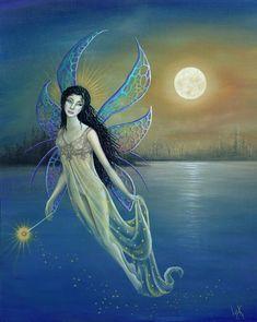 Moon Fairy | Blue Moon Fairy Painting by BK Lusk - Blue Moon Fairy Fine Art Prints ...