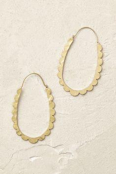 | Anthropologie Celeste Scalloped Hoop Earrings