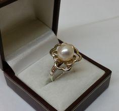 Ring Silber 925 Blüte Perle Handarbeit rar SR716 von Schmuckbaron
