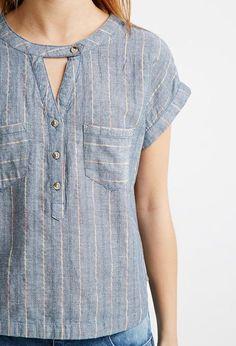 Life in progress boxy stripe top blouse designs, sleeve designs, kurta designs, blouse Neck Designs For Suits, Neckline Designs, Dress Neck Designs, Sleeve Designs, Kurta Designs, Blouse Designs, Kurta Neck Design, Kurti Neck, Refashioning