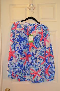 Lilly Pulitzer Elsa Silk Top in She She Shells-Size S-Brand New with Tags #LillyPulitzer #Blouse #Casual