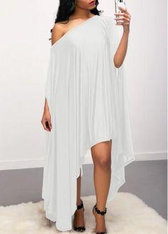 rotita.com - unsigned Asymmetric Hem Skew Neck White Dress - AdoreWe.com