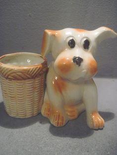 Antique Dog Toothpick Holder  Basket Occupied Japan