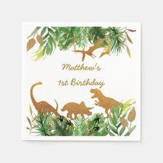 Cute Dinosaur Gold Safari Birthday Napkins