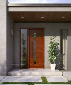 Modern contemporary entry doors - contemporary - Front Doors - Miami - Foret Doors - March 01 2019 at Wooden Front Doors, Front Door Entrance, Exterior Front Doors, House Front Door, Front Entrances, House Entrance, Entry Doors, Entrance Ideas, Front Entry