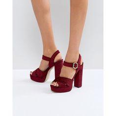 ALDO Kaelah Velvet Platform Heeled Sandals ($99) ❤ liked on Polyvore featuring shoes, sandals, red, red platform sandals, red wedge sandals, strappy sandals, platform heel sandals and red strappy sandals