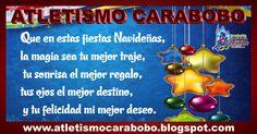 """Feliz Navidad Atletismo carabobo """"La clave del éxito de Atletismo Carabobo es que todos los que la conformamos nos consideramos como una gran familia y es por ello que en estas fechas tan importantes como lo son la navidad y el Año Nuevo, nuestros lazos de unión se fortalecen aún más. Por ello, en esta ocasión queremos desearles a todos nuestros atletas, entrenadores, dirigentes y colaboradores que tengan una hermosa navidad y que este Nuevo Año los colme de muchas bendiciones"""""""