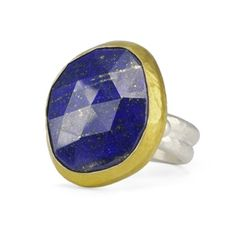 Sterling Silver Ring with 24K Gold Bezel Set Lapis Lazuli by GURHAN
