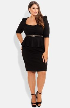 City Chic Peplum Dress (Plus Size) at Nordstrom.com. A sleek contrast belt and flirty peplum accentuate the retro-chic attitude of an elbow-sleeve dress topped with a scooped neckline.